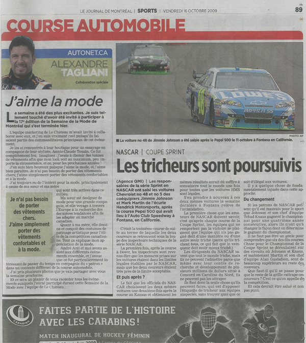Alex Tagliani - Journal de Montreal