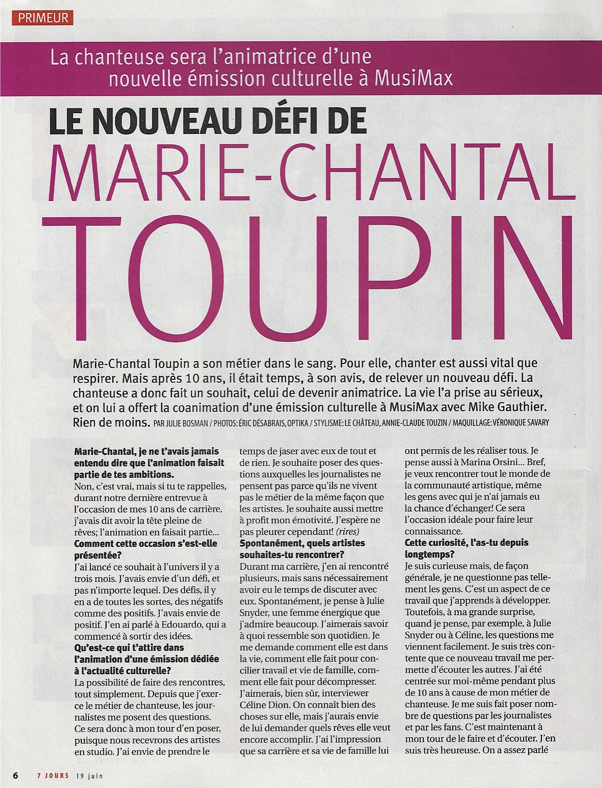 Marie-Chantal Toupin 7 Jours
